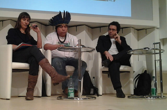 Der indigene Schriftsteller Daniel Munduruku auf der Buchmesse in Frankfurt.